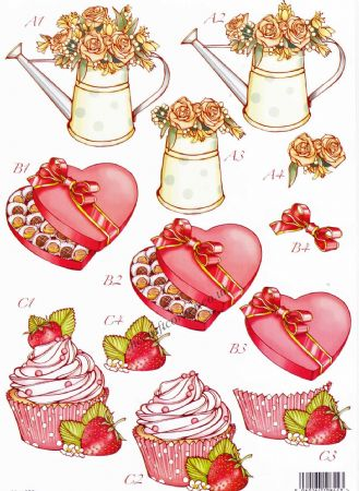 Red Hearts & Cup Cakes Die Cut 3d Decoupage Sheet From Craft UK Ltd